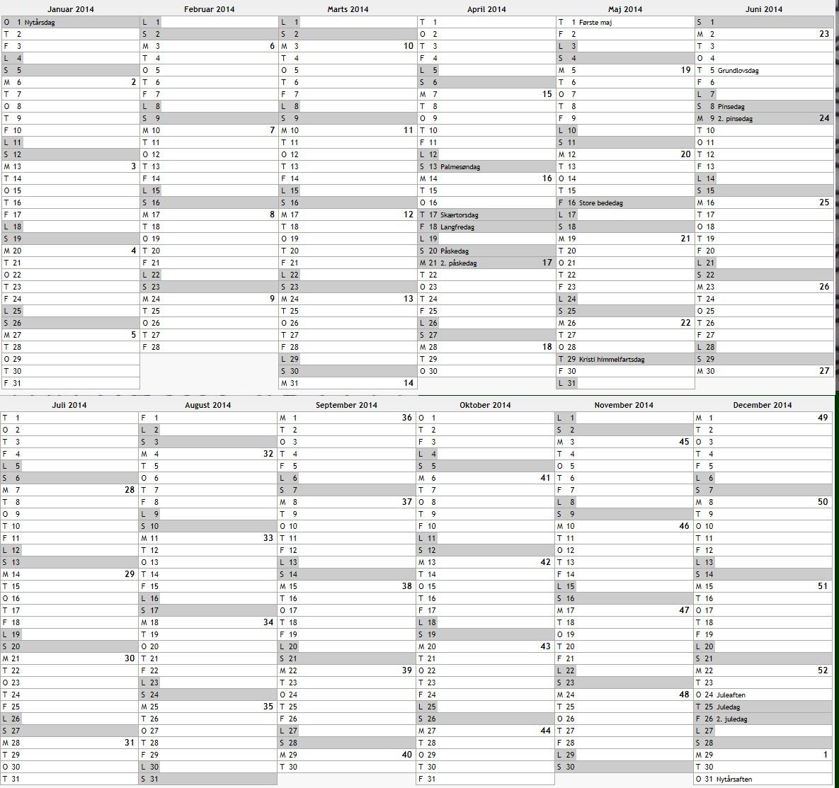 2014 kalender med danske helligdage i lohals p u00e5 langeland