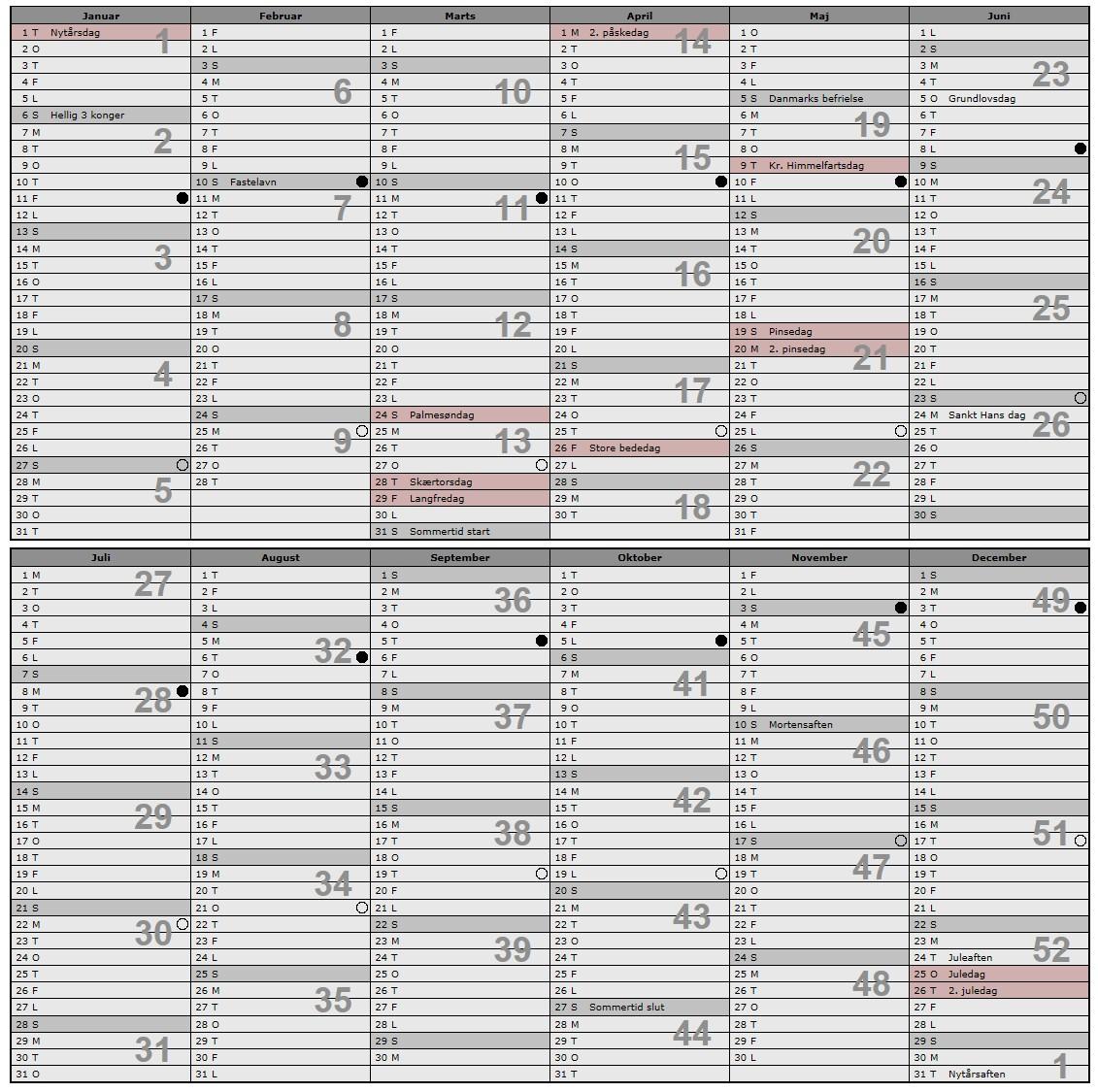 Kalender med danske helligdage 2013